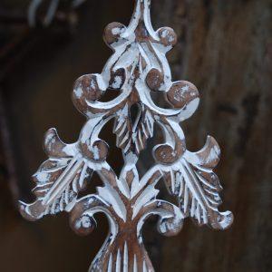 PTMD Houten Kerstboom Hanger Wit L Wit